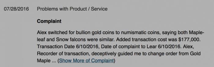 BBB complaint/customer reviews